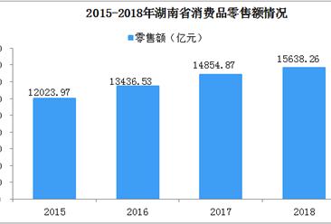 2018年湖南省社会消费品零售总额达15638.26亿元  同比增长10%