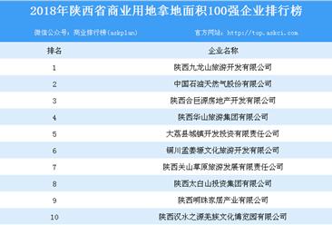 商业地产招商情报:2018年陕西省商业用地拿地100强企业排行榜
