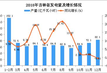 2018年吉林省发电量为811.9亿千瓦小时 同比增长17.63%