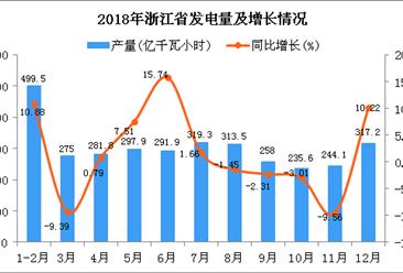 2018年浙江省发电量为3333.8亿千瓦小时 同比增长2.27%