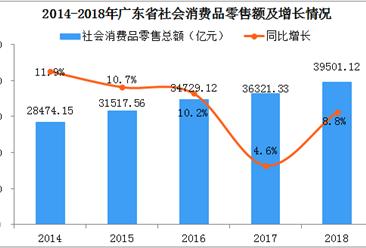 2018年广东省社会消费品零售额达3.95万亿  同比增长8.8%
