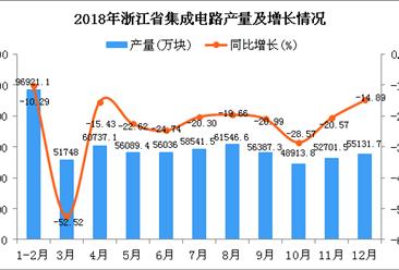2018年浙江省集成电路产量为654754万块 同比下降23.58%
