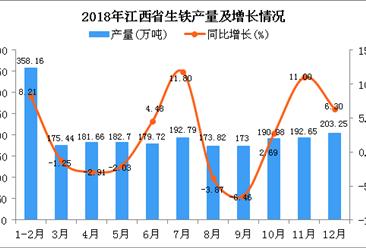 2018年江西省生铁产量为2204.17万吨 同比增长2.85%