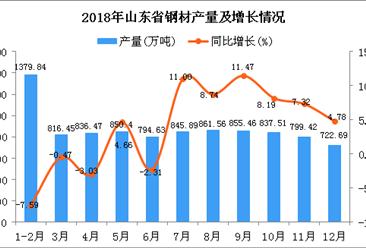 2018年山东省钢材产量为9600.32万吨 同比增长2.87%