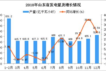 2018年山东省发电量为5267.7亿千瓦小时 同比增长8%