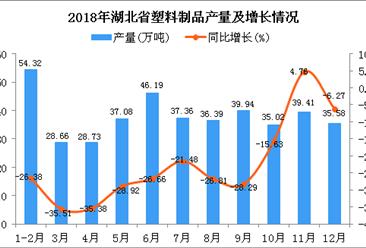 2018年湖北省塑料制品产量为418.68万吨 同比下降23.59%