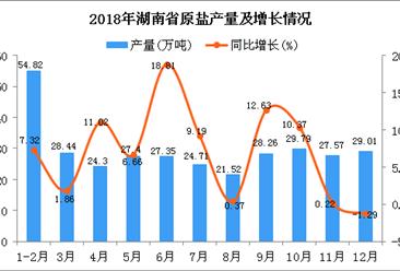 2018年湖南省原盐产量为323.17万吨 同比增长4.9%