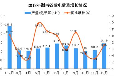 2018年湖南省发电量为1405.1亿千瓦小时 同比增长5.65%
