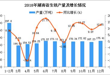 2018年湖南省生铁产量为1963.19万吨 同比增长9.68%