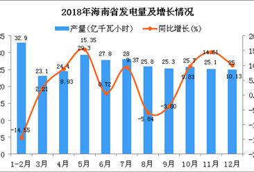 2018年海南省发电量同比增长3.03%