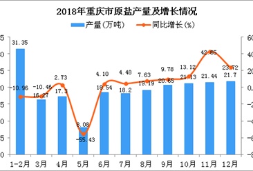 2018年重庆市原盐产量为213.85万吨 同比增长1.13%