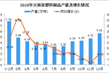 2018年云南省塑料制品产量为49.46万吨 同比增长6.07%
