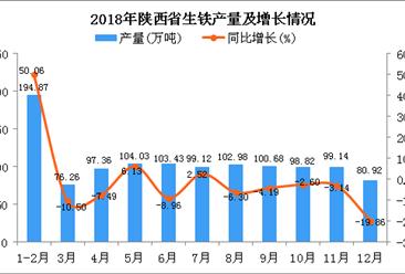 2018年陕西省生铁产量同比增长0.8%