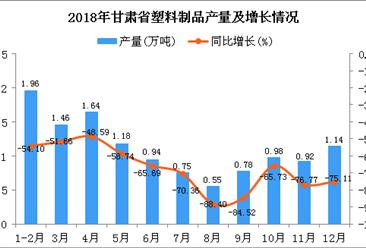 2018年甘肃省塑料制品产量为12.3万吨 同比下降69.09%
