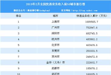 2019年2月全国快递业务收入50强城市排名:上海第一(附榜单)