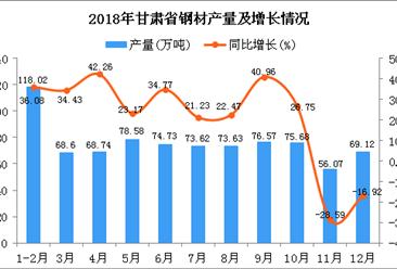 2018年甘肃省钢材产量为833.36万吨 同比增长18.72%