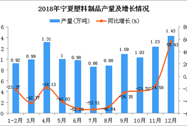 2018年宁夏塑料制品产量及增长情况分析