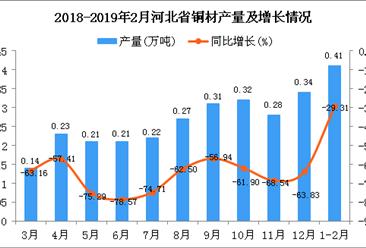 2019年1-2月河北省铜材产量为0.41万吨 同比下降29.31%