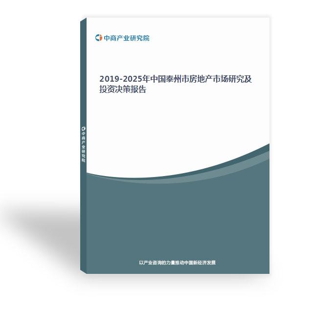 2019-2025年中国泰州市房地产市场研究及投资决策报告