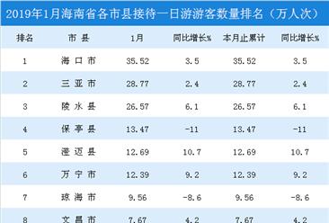 2019年1月海南省各市县一日游游客排行榜:海口市游客最多  东方市增速最快