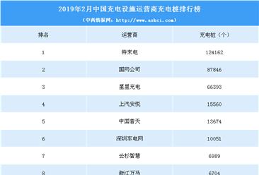 2019年2月中国充电设施运营商充电桩数量排行榜