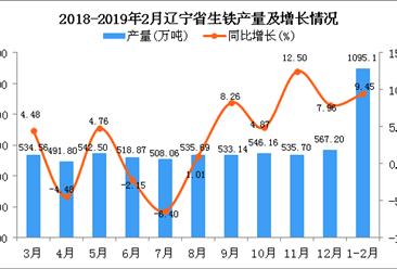2019年1-2月辽宁省生铁产量为1095.1万吨 同比增长9.45%