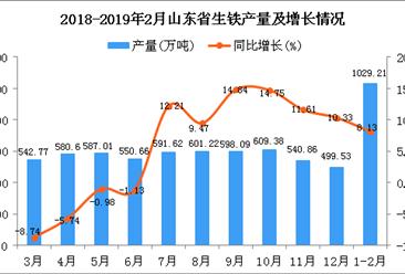 2019年1-2月山东省生铁产量同比增长8.13%
