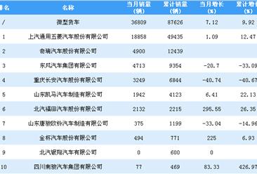 2019年1-2月微型货车企业销量排行榜TOP10