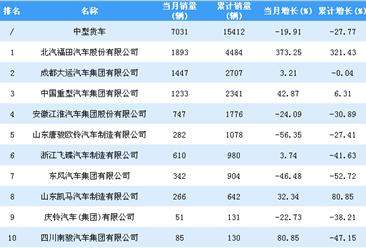 2019年1-2月中型货车企业销量排行榜TOP10