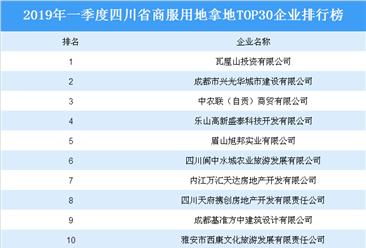 商业地产招商情报:2019年一季度四川省商服用地拿地top30企业排行榜