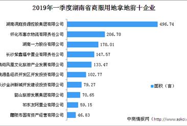 商业地产招商情报:2019年一季度湖南省商服用地拿地企业20强排行榜