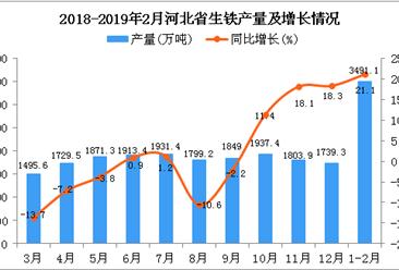 2019年1-2月河北省生铁产量为3491.1万吨 同比增长21.1%