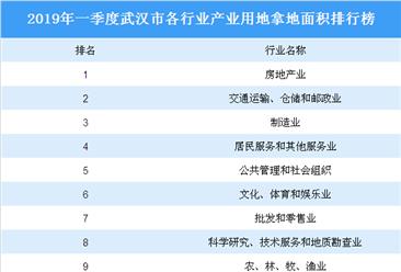 产业地产投资情报:2019年一季度武汉市各行业用地拿地情况盘点