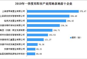 产业地产投资情报:2019年一季度安徽省阜阳市产业用地拿地企业30强排行榜