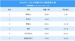 2019年1-3月中国豪华SUV销量排行榜(TOP10)