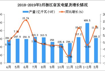 2019年1-3月浙江省发电量为796.5亿千瓦小时 同比增长2.84%
