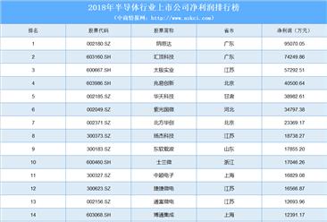 2018年半导体行业最赚钱上市公司排行榜