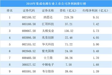 2018年集成电路行业上市公司净利润排行榜