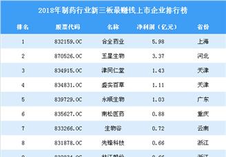 2019年新三板制药行业最赚钱企业排行榜