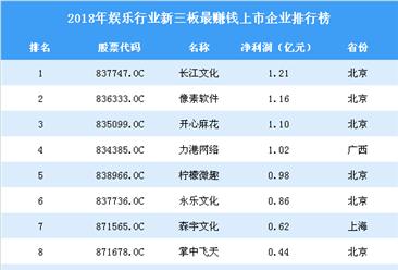 2019年新三板娱乐行业最赚钱企业排行榜TOP50