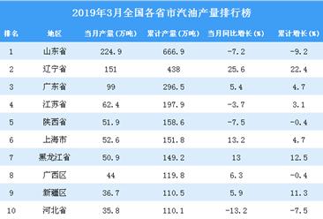 2019年3月全国各省市汽油产量排行榜