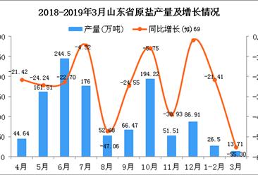 2019年1季度山东省原盐产量为40.16万吨 同比下降37.63%