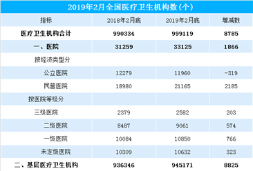 2019年2月底全国医疗卫生机构大数据分析:医疗卫生机构同比增加8785个