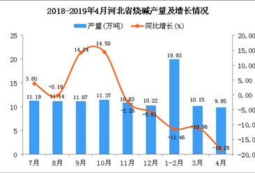 2019年1-4月河北省烧碱产量为39.93万吨 同比下降13.12%