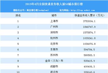2019年1-4月全國快遞業務收入城市排名:上海、廣州、深圳前三(TOP50)