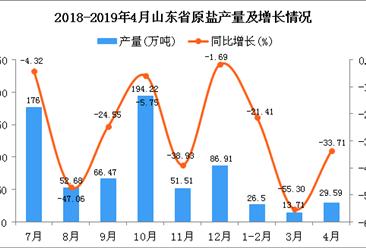 2019年1-4月山东省原盐产量为69.76万吨 同比下降36.02%