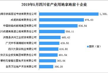 产业地产投资情报:2019年5月四川省产业用地拿地企业100强排行榜