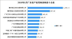 产业地产投资情报:2019年5月广东省产业用地拿地企业100强排行榜