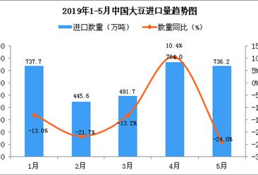 2019年5月中国大豆进口量为736.2万吨 同比下降24%