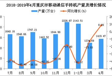 2019年1-4月重庆市手机产量为4775.42万台 同比下降25.81%